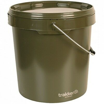 Trakker NEW Carp Fishing 10 Litre Green Olive Round Bait Bucket - 216103