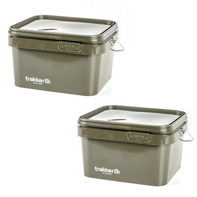Trakker NEW Carp Fishing 5 Litre Green Square Bait Bucket x2 - 216106