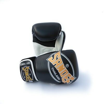 Sandee Cool Tec Velcro Black Leather Boxing Gloves