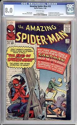 Amazing Spider-Man # 18  The End of Spider-Man !  CGC 8.0  scarce book!