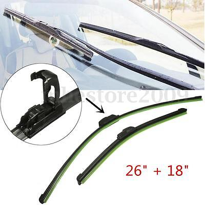 Pair Universal Car Window Windshield Wiper Blades J-HOOK 26'' 18'' Bracketless