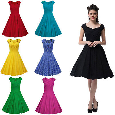 Women's Ladys Cap Sleeve 1950s Rockabilly Housewife Bridesmaid Party Swing Dress