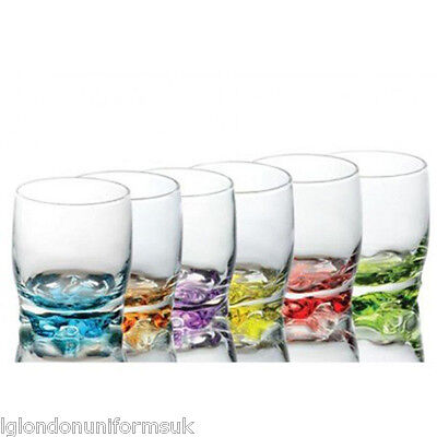 Set of 6 Coloured Base Glasses Set Glassware Tumbler Juice Whiskey Wine Glass