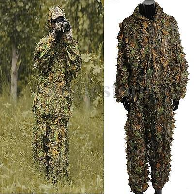 Leaf Camouflage Camo Wood Ghillie Suit Set 3D Jungle Forest Hunting Sniper Train