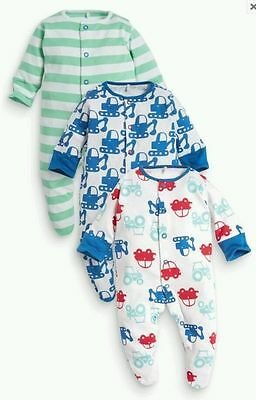 Baby Boys New Ex Next Diggers 100% Cotton Sleepsuit  Babygrow Tiny Baby-12Mth