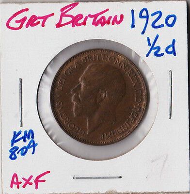 GREAT BRITAIN 1920 | HALF PENNY 1/2 d | AXF