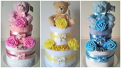 Baby Girl Boy Unisex Gorgeous 2 Tier Nappy Cake New Mum/Baby Shower Gift