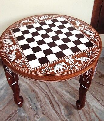 Chess Board Elephant Carved Inlaid Work Coffee Round Table
