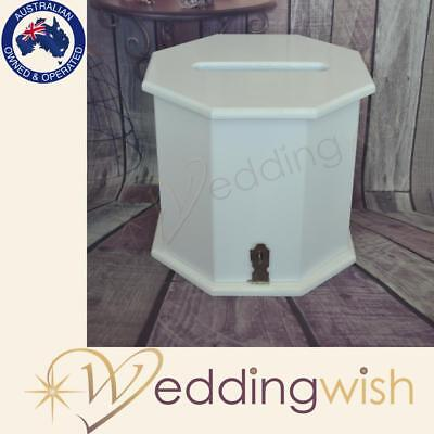White Wooden Wishing Well Octagon Wedding Card Box