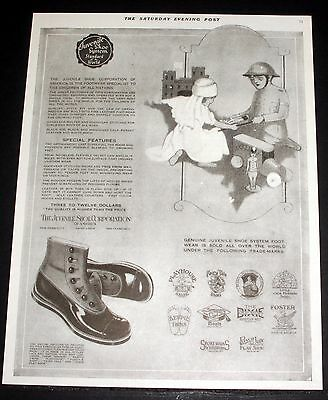 1919 Old Magazine Print Ad, Juvenile Shoe System, The Standard Of The World!