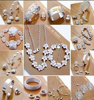 New jewelry solid 925 Sterling SILVER /Necklace/ Bracelet /Earring/ring Set+box