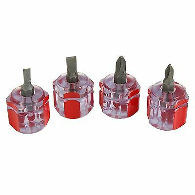 4pc Mini Stubby Screwdriver Set Flat Head Pozi Drive Small Compact Hand Tools