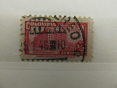 A1P6 COLOMBIA POSTAL TAX 1945-48 1/2c CAR ROSE USED