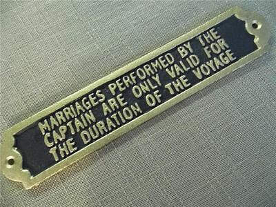 Cast Iron Plaque *marriages Performed By The Captain Valid For Duration Voyage*