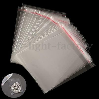 100-500x Clear Cellophane Cello Display Card Bags Self Adhesive Seal Plastic OPP