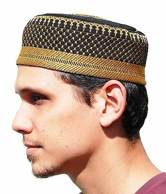 Med 22.5-inch Black Metallic Gold Muslim Padded Soft Prayer Islamic Kufi Hat Cap