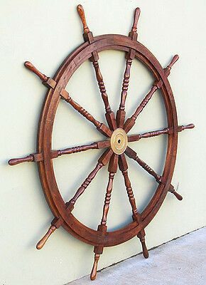 "Huge 72"" Teak Wooden Ships Steering Wheel Nautical Yard Wall Decor"