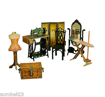 Furniture for Dolls SEWING ROOM Dollhouse Miniature Scale 1:12 Model Kit Set .