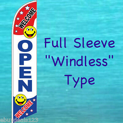 OPEN WELCOME WINDLESS FEATHER FLAG Swooper Flutter Banner Advertising Sign 3065