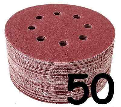"""50 x 125mm 5"""" Velcro Punched Sanding Disc 240 Grit."""