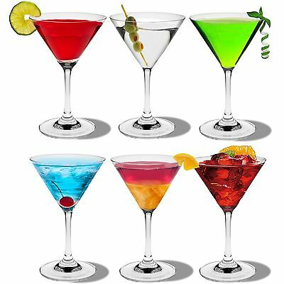 6 x Rink Drink Martini Cocktail Glasses - 200ml (7oz) - Gift Boxed!