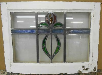 "OLD ENGLISH LEADED STAINED GLASS WINDOW Abstract Floral Design 20.75"" x 15"""