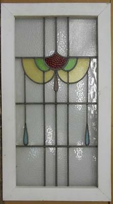 "LARGE OLD ENGLISH LEADED STAINED GLASS WINDOW Abstract Floral 20.75"" x 37.5"""