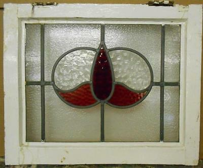 "OLD ENGLISH LEADED STAINED GLASS WINDOW Simple Floral 20.25"" x 16.75"""