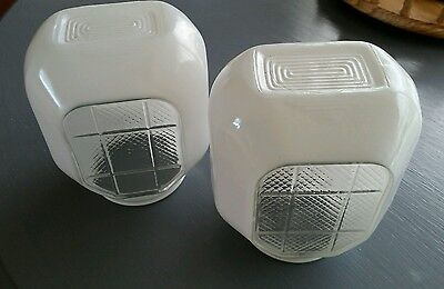 Two Art deco frosted light fixtures cover Globe for porch bathroom lamp Sconce