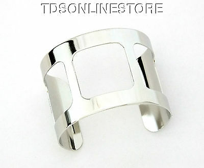 Silver Plated Cuff 2 Inch Wide 3 Square Cutouts Ready Crafting Or Wear