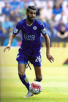 Riyad Mahrez Signed 12X8 Photo Leicester City F.C. Genuine COA AFTAL (1685)