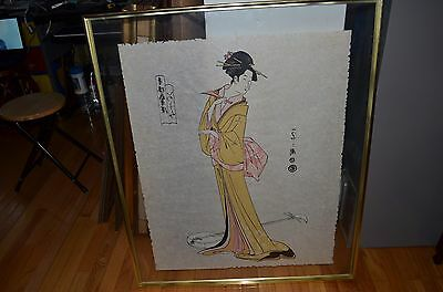 Antique Japan Japanese Beauty Woman Artist Signed Watercolor Rough Straw Paper