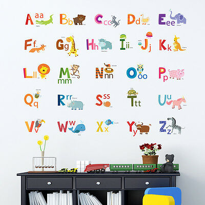 Decowall Animals Alphabet Nursery Kids Removable Wall Stickers Decal DA-1503A