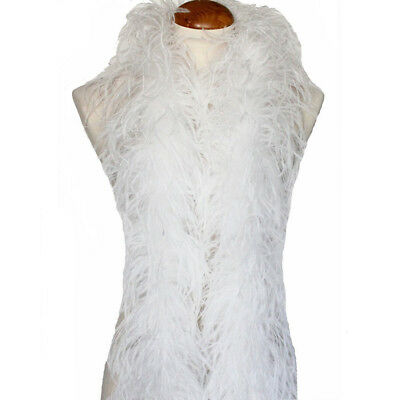 White 3ply Ostrich Feather Boa Scarf Prom Halloween Costumes Dance Decor
