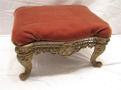 Antique Cast Iron Leg Upholstered Bench Stool Rest Ornate Scroll Foot Victorian