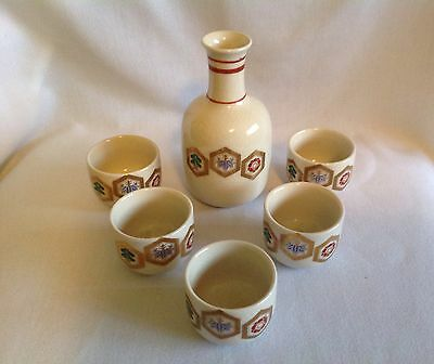 Vintage Japanese Sake Set Decanter Bottle w/ 5 Cups Artist Signed
