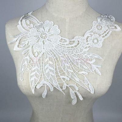 Embroidered Lace Neckline Collar Trims Sew Bridal Dress Patch Applique White