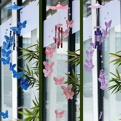 Creative Butterfly Mobile 4 Tubes Wind Chime Bell Garden Indoor Decor Ornament