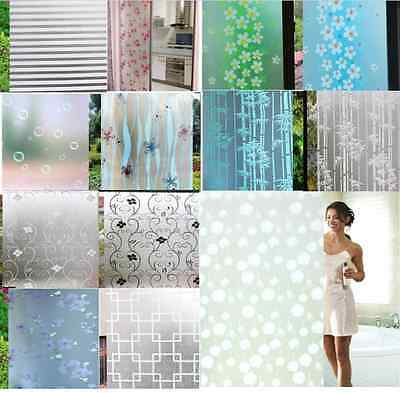 New 45x200cm Frosted Cover Glass Window Black Floral Flower Sticker Film Office