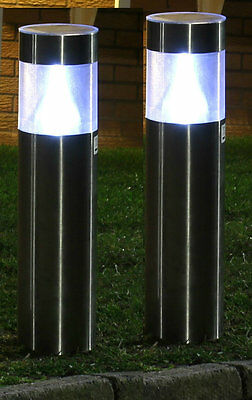 2 x ROUND STAINLESS STEEL SOLAR POWER LED GARDEN POST LIGHTS RECHARGEABLE LAMPS