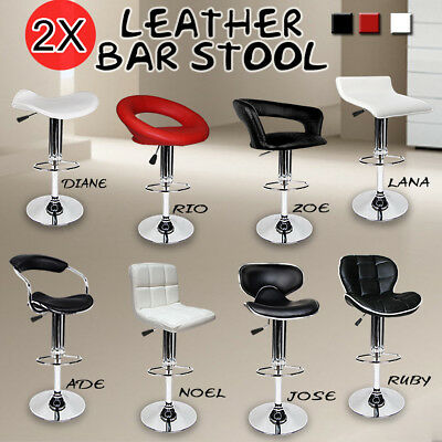 2 x PU PVC Leather Bar Stool Kitchen Dining Home Chair Gas Lift Black White Red