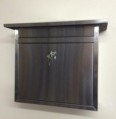 Lockable Stainless Steel Mailbox Letter Box Mail Large Postbox Letterbox Locking