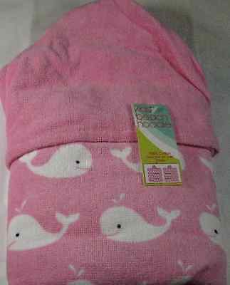 KIDS BEACH HOODIE  TOWELS- 100% COTTON   WHALES PINK & WHITE  24 x 48