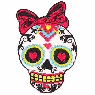 Sugar Skull Bow Emo Kitsch Embroidered Iron Sew-On Patch Badge Applique Motif