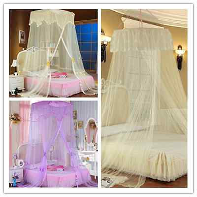 Elegant Lace Bed Mosquito Netting Mesh Canopy Net Princess Round Dome