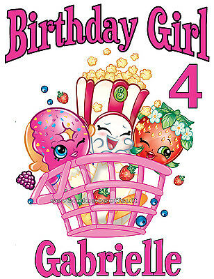 New Personalized Shopkins Birthday T Shirt Party Favor Tee Add Name And Age