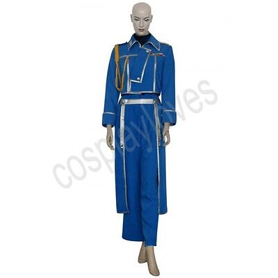 FullMetal Alchemist Riza Hawkeye Blue Military Cosplay Costume Custom Made