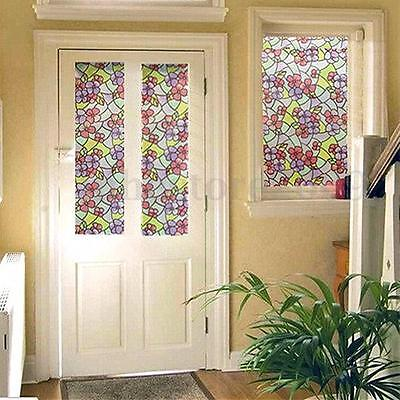 PVC Flowers Frosted Stained Glass Window Film Sticker Self Adhesive Home  Privacy. NEW Self Adhesive Window Film Iris Floral Vinyl Stained Glass