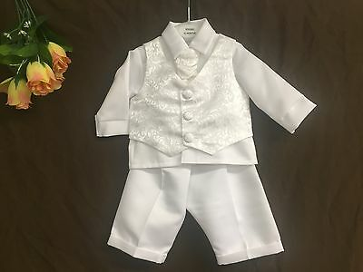 Baby Boys 4 Piece Paisley Christening Baptism Outfit/Wedding Suit White 0-24 Mo