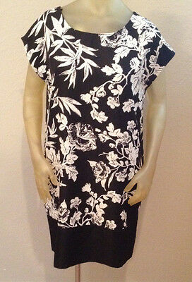 NWT Joe Fresh Black Floral Dress Womens size Medium 8 10